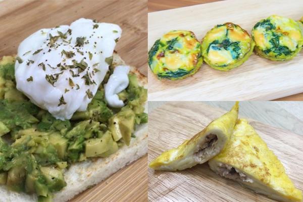 【簡易食譜】5步就輕鬆做到 3款簡易早餐食譜  菠菜蘑菇蛋批/水煮蛋牛油果多士/吞拿魚芝士飛碟