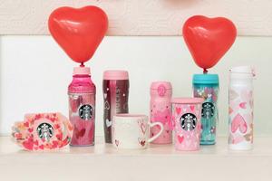 日本Starbucks推出情人節Starbucks杯款,粉紅浪漫。