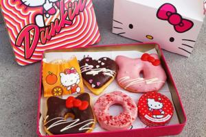 韓國Dunkin' Donuts推出Hello Kitty冬甩,有士多啤梨味冬甩和朱古力味冬甩,甜品控可以試試~